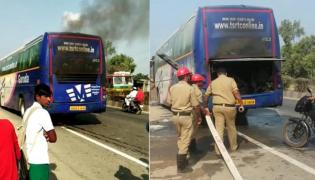 TSRTC Volvo bus catches fire near Ibrahimpatnam - Sakshi