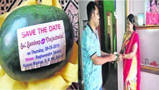 Man Distributing Watermelon Wedding Cards For Marriage - Sakshi
