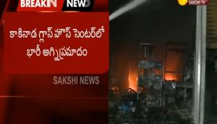 Fire accident in glass house centre at kakinada