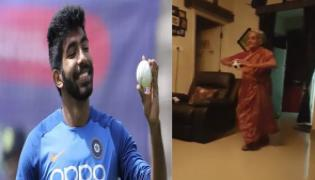 Elder Lady Imitates Jasprit Bumrah Bowling Action - Sakshi
