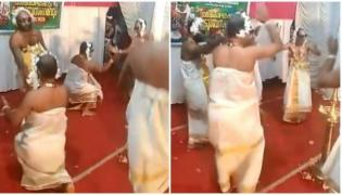 Viral Video Shows Men Onam Dance - Sakshi