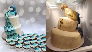 Bride Shocked By Peacock Cake Looked Like Lopsided Turkey - Sakshi