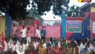 RTC Workers Protest at Bus Depot in Suryapet