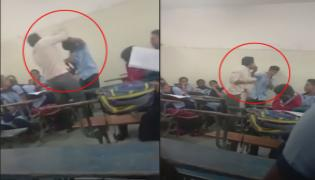 Basaveshwar School Teacher Brutally Thrashes A Student In Classroom - Sakshi