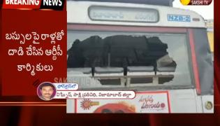 Stone Attack on RTC Bus In Nizambad