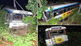 RTC Bus Accident In Yadadri district - Sakshi
