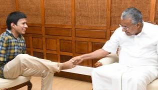 Differently Abled Pranav Meets Pinarayi Vijayan - Sakshi