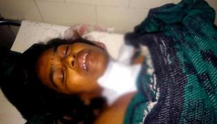 Son Attacks On Mother With Knife At Mancherial District - Sakshi