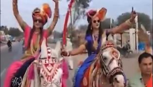 Madhya Pradesh Brides Ride Horses To Grooms Home - Sakshi