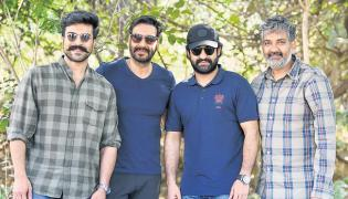 RRR Makers Share Picture Of Ajay Devgn, Ram Chara and Ntr - Sakshi