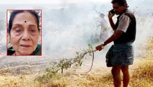 Senior Actress Leelavathi Garden Fired in Karnataka - Sakshi