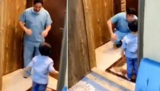 Viral Video: Doctor Refuses To Hug Son After Treatment Of Corona - Sakshi