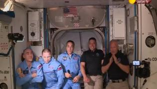 SpaceX Crude Dragon Spacecraft Arriving At ISS