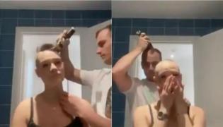 Watch: Man Goes Bald after Shaving Girlfriend Head - Sakshi