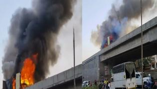 Fact Check: Video Of Truck Caught Fire Is Not In Gachibowli - Sakshi