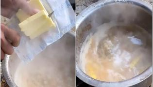 Butter Chai Being Made At Agra Baba Stall Goes Viral - Sakshi