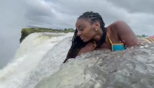 Model Dangerous Bikini Shoot in Victoria Falls Video Gone Viral