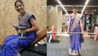 Viral Video: Pune Woman Does Pushups, Weight Training Wearing a Sare - Sakshi
