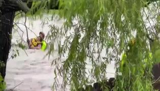 Viral Video: Woman Stuck In Flood Water Rescued