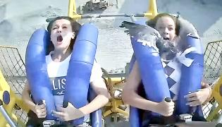Two American Girls On Roller Coaster Ride Hit By Seagull Video Goes Viral - Sakshi