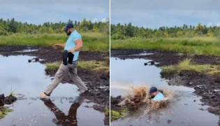 Husband Plunges Into Muddy Water, Wife Laughs Hysterically: Viral Video - Sakshi