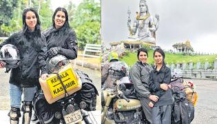 Mother-daughter duo is on a bike trip from Kerala to Kashmir - Sakshi