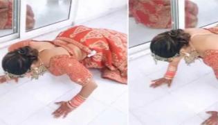 Aana Arora Push ups In Wedding Dress Going A Viral Video - Sakshi