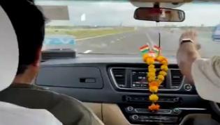 Nitin Gadkari 170 Kmph test drive at Delhi-Mumbai Expressway - Sakshi