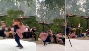 Viral Video: Groom Piggybacks Bride While Dancing - Sakshi