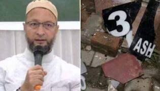 5 From Hindu Sena Arrested For Vandalising Asaduddin Owaisi Home - Sakshi