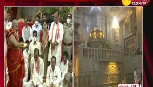Telangana CM KCR At Yadadri Temple In Nalgonda