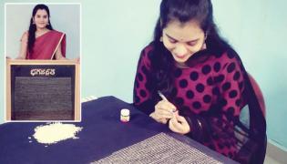 Hyderabad Micro Artist Swarika Ramagiri Writes Bhagavad Gita On Rice Grains - Sakshi