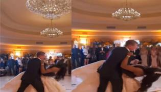Viral Video Of Bride And Groom Fall Down While Romantic Dance - Sakshi