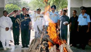 Last rites ceremony of Marshal of Air Force Arjan Singh at Delhis Brar Square