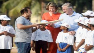King Philippe And Queen Mathilde of Belgium Learn 'Tricks of The Trade' From Virender Sehwag - Sakshi