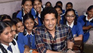 Sachin Tendulkar interacts with students  - Sakshi