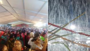 Heavy Rain At Vontimitta Temple - Sakshi