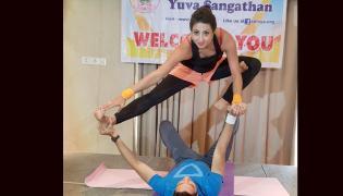 Actress Sanjana Surprises With Different Types Of Yoga  Photo Gallery - Sakshi