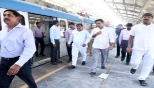 KTR inspects Hyderabad Metro Rail trail run from Ameerpet to LB Nagar Photo Gallery - Sakshi