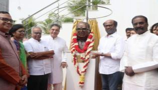 Kamal Haasan and Rajinikanth join hands to unveil their mentor K Balachanders statue Photo Gallery - Sakshi