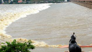 Heavy Waterfall in Krishna River Photo Gallery - Sakshi