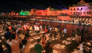 Ayodhya Deepotsav celebrations enter Guinness World Record - Sakshi