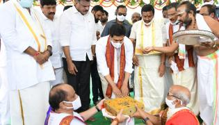AP CM YS Jagan Held Bhoomi Pooja For Reconstruction of Temples Photo Gallery - Sakshi