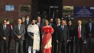 Finance Minister Shrimati Nirmala Sitharaman presents Union Budget 2021-22 - Sakshi