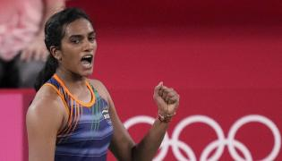 PV Sindhu becomes first Indian shuttler to reach two Olympic semis Photo Gallery - Sakshi