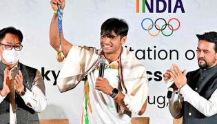 The Central Government felicitated the Indian athletes won medals Tokyo Olympics Photo Gallery - Sakshi