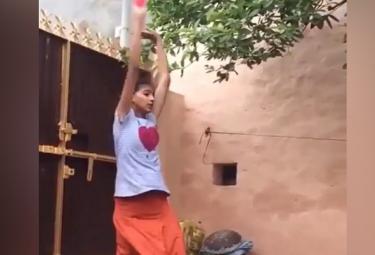 Viral: A Girl Emulating Harbhajan Singh Bowling Action - Sakshi