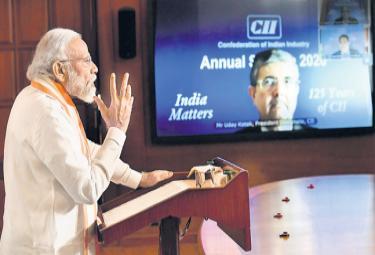 Narendra Modi Addressing Video Conference At CII Annual Conference - Sakshi