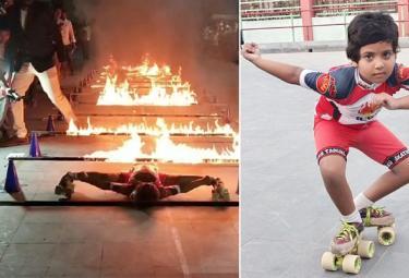 5 Years Child Creates World Record In Fire Limbo Skating - Sakshi