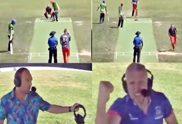Bowler Hilariously Turns Commentator Celebrate After Picking Up Wicket - Sakshi